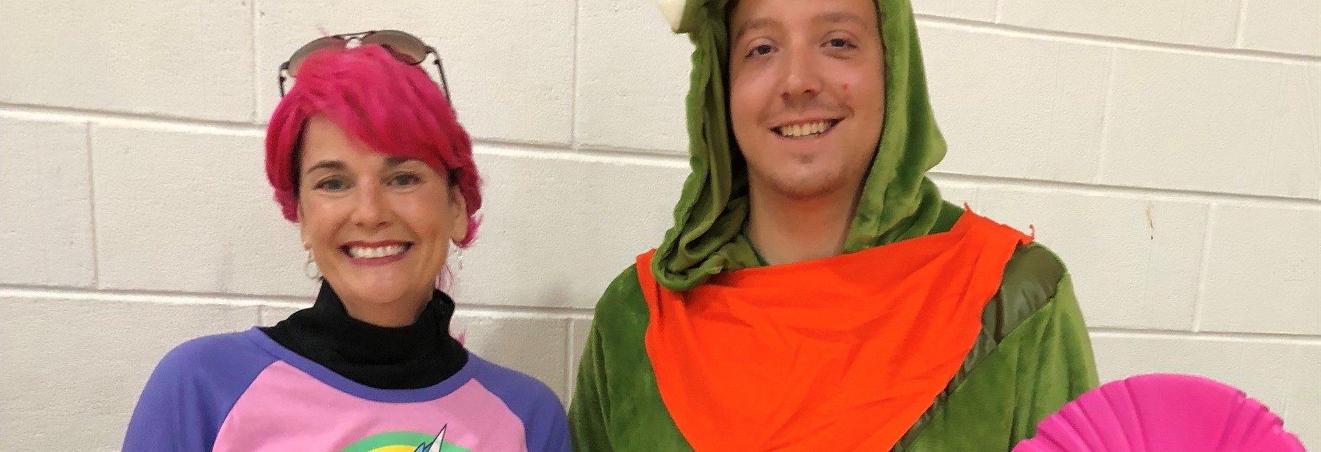Pic:  teachers dressed as fortnight characters